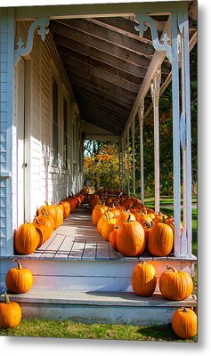 Pumpkins On A Porch Metal Print by Karen Stephenson
