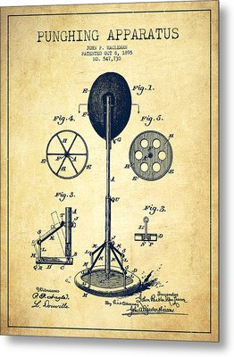 Punching Apparatus Patent Drawing From 1895 -vintage Metal Print