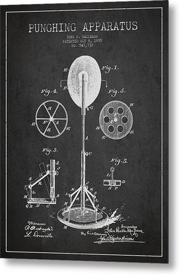 Punching Apparatus Patent Drawing From1895 Metal Print by Aged Pixel