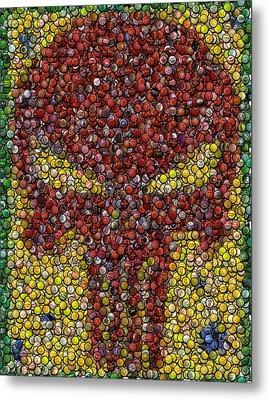Punisher Bottle Cap Mosaic Metal Print by Paul Van Scott
