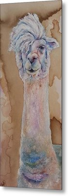 Metal Print featuring the painting Punk Rock Alpaca by Christy  Freeman