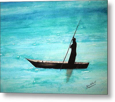 Metal Print featuring the painting Punt Zanzibar Boat by June Holwell