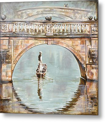 Punting On River Cam Under Clare Bridge Metal Print by Leigh Banks