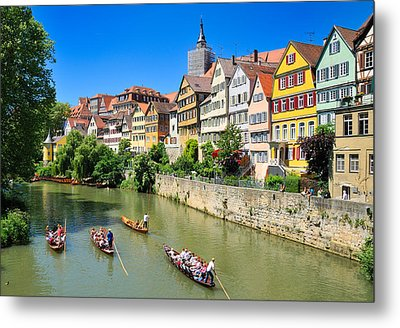Punts On River Neckar In Lovely Old Tuebingen Germany Metal Print by Matthias Hauser