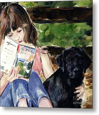 Pup And Paperback Metal Print by Molly Poole
