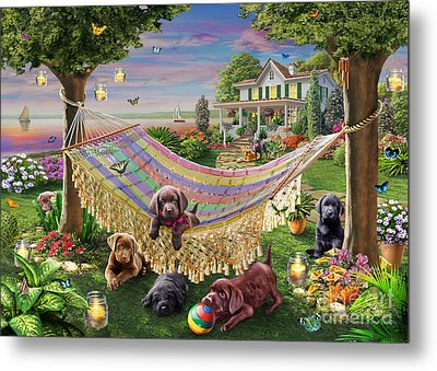 Puppies And Butterflies Metal Print by Adrian Chesterman