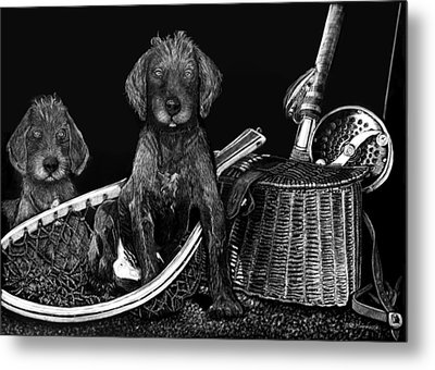 Puppies Are Ready To Go Fish Metal Print by Anderson R Moore