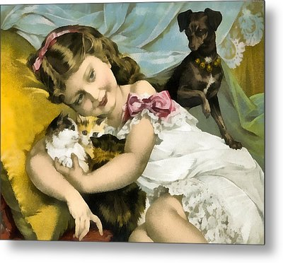 Puppies Kittens And Baby Girl Metal Print by Vintage Trading Cards