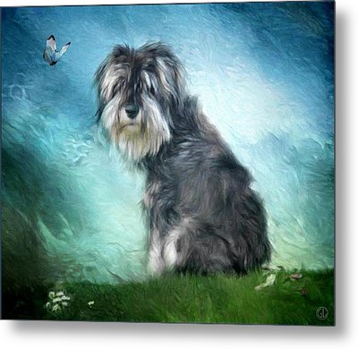 Puppy Explores The World Metal Print by Gun Legler