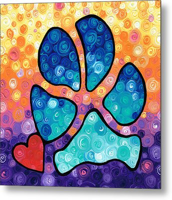 Puppy Love - Colorful Dog Paw Art By Sharon Cummings Metal Print