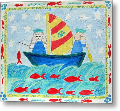 Puppy Sailors Metal Print by Diane Pape