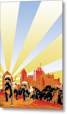 Pups In The Park Metal Print by Miguel Rios
