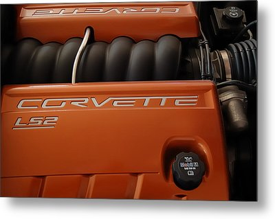 Pure American Racing - Corvette Engine The Ls-2  Metal Print by Steven Milner