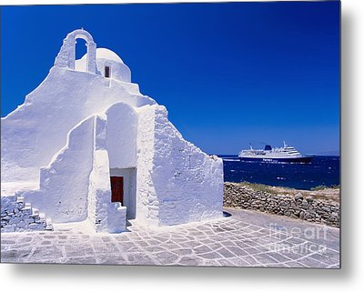 Pure White Church Metal Print by Aiolos Greek Collections