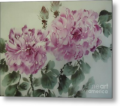 Metal Print featuring the painting Purle Flower427012-10 by Dongling Sun