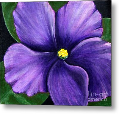 Metal Print featuring the painting Purple African Violet by Barbara Griffin
