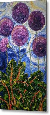 Purple Alliums And Swiss Chard Metal Print