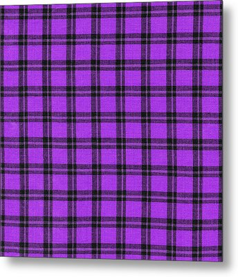 Purple And Black Plaid Textile Background Metal Print