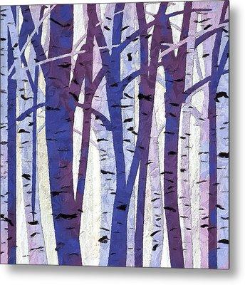 Plum And Blue Birch Trees - Plum And Blue Art Metal Print