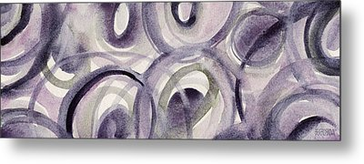 Purple And Green Circles Abstract Panoramic Painting Metal Print by Beverly Brown