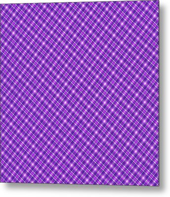 Purple And Pink Diagonal Plaid Pattern Cloth Background Metal Print