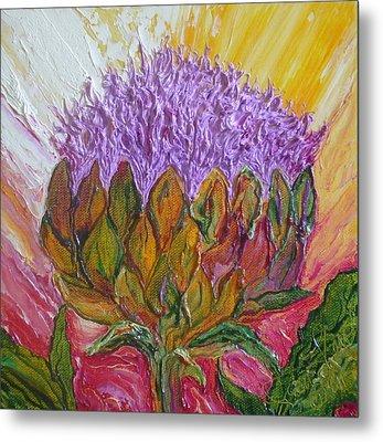 Purple Artichoke Blossom Metal Print by Paris Wyatt Llanso
