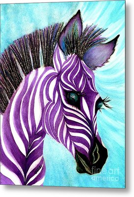 Purple Baby Zebra Metal Print by Janine Riley