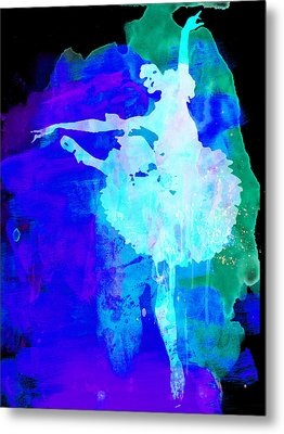 Purple Ballerina Watercolor Metal Print by Naxart Studio