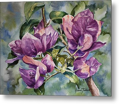 Metal Print featuring the painting Purple Beauties - Bougainvillea by Roxanne Tobaison