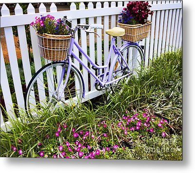 Purple Bicycle And Flowers Metal Print by David Smith