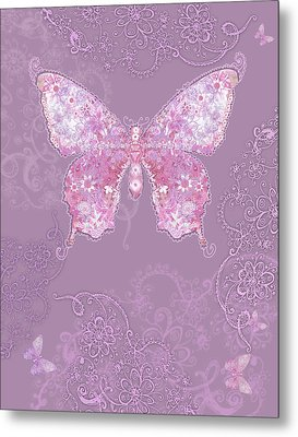 Purple Butterfly Floral Metal Print by Alixandra Mullins