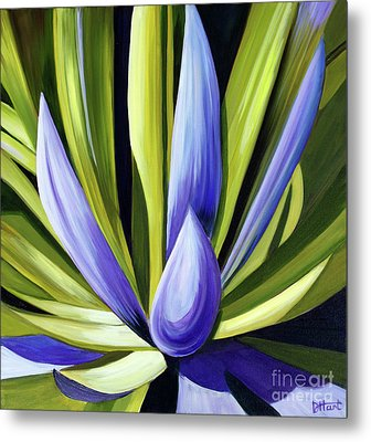 Metal Print featuring the painting Purple Cactus by Debbie Hart