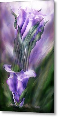 Purple Callas In Calla Vase Metal Print by Carol Cavalaris