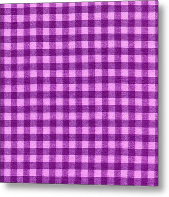 Purple Checkered Design Fabric Background Metal Print