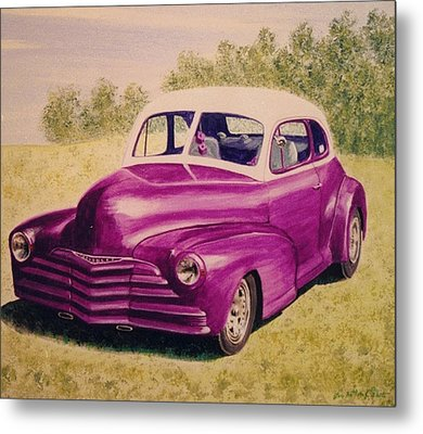 Purple Chevrolet Metal Print by Stacy C Bottoms