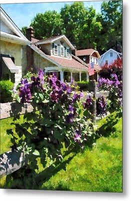 Purple Clematis On Rustic Fence Metal Print by Susan Savad