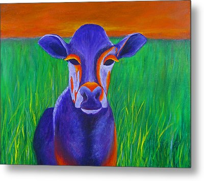 Purple Cow Metal Print by Roseann Gilmore