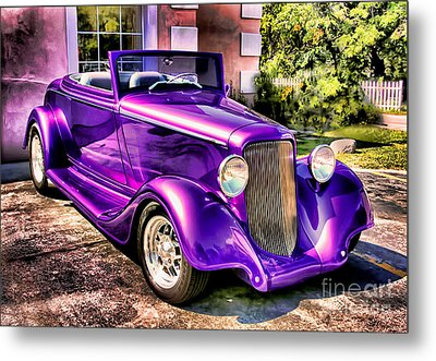 Metal Print featuring the photograph Purple Custom Roadster by Clare VanderVeen