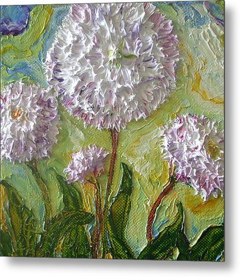 Purple English Daisy Metal Print by Paris Wyatt Llanso