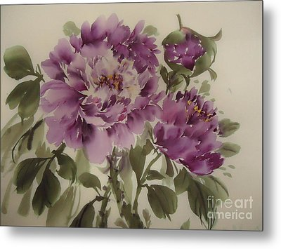 Metal Print featuring the painting Purple Flower by Dongling Sun