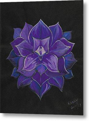 Purple Flower - Painting Metal Print by Veronica Rickard