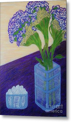 Metal Print featuring the painting Purple Flowers And Ice by Jasna Gopic