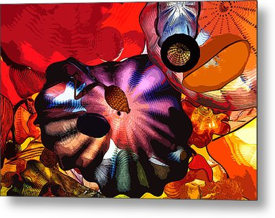 Metal Print featuring the digital art Purple Glass In Sea Of Red by Kirt Tisdale