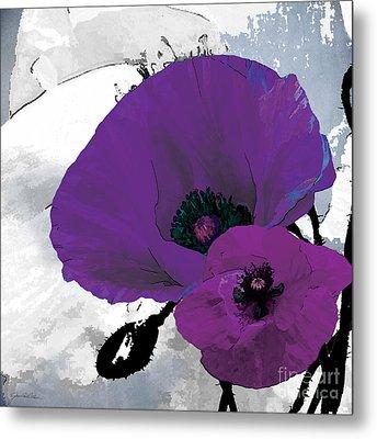 Purple Grey Poppy A Metal Print by Grace Pullen