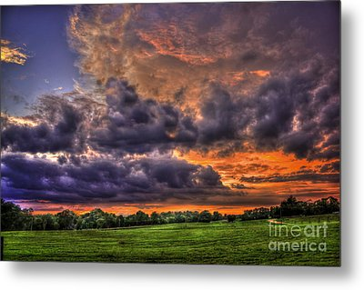 Purple Haze Clouds At Sunset Over The Hayfield Metal Print by Reid Callaway