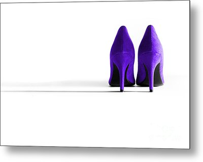 Purple High Heel Shoes Metal Print by Natalie Kinnear