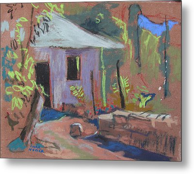 Metal Print featuring the painting Purple House by Linda Novick