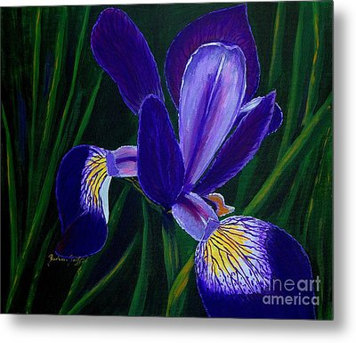 Metal Print featuring the painting Purple Iris by Barbara Griffin