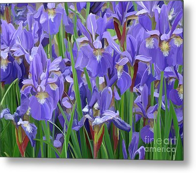 Metal Print featuring the painting Purple Iris Garden by Tim Gilliland