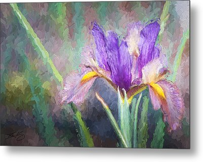 Metal Print featuring the painting Purple Iris In The Early Spring by Ike Krieger